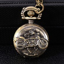 8917Motorcycle embossed exquisite retro hollow fashion trend copper color large pocket watch