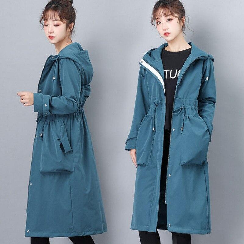 2020 Spring Autumn Long Trench Coat Women Casual Long Sleeve Hooded Windbreaker Female Overcoat Zipper Big Pocket Plus Size Y257