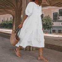 new womens summer dress solid color short sleeved casual bohemian beach dress simple and loose ankle length dresses en