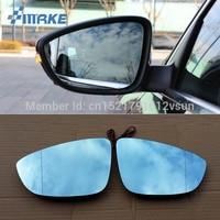 smRKE 2Pcs For Volkswagen Passat Rearview Mirror Blue Glasses Wide Angle Led Turn Signals light Power Heating