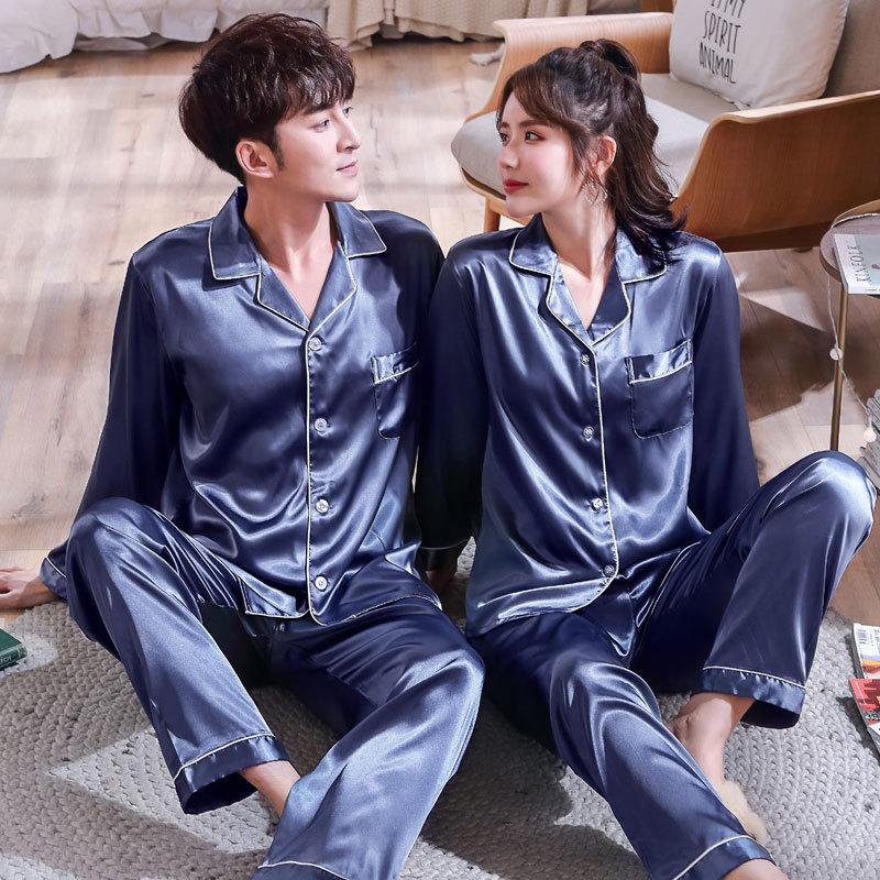 Men's Pajamas Sets Long Sleeve Lovers' Clothes New Silk Satin Sleepwear Home Wear Couples Pyjamas Me