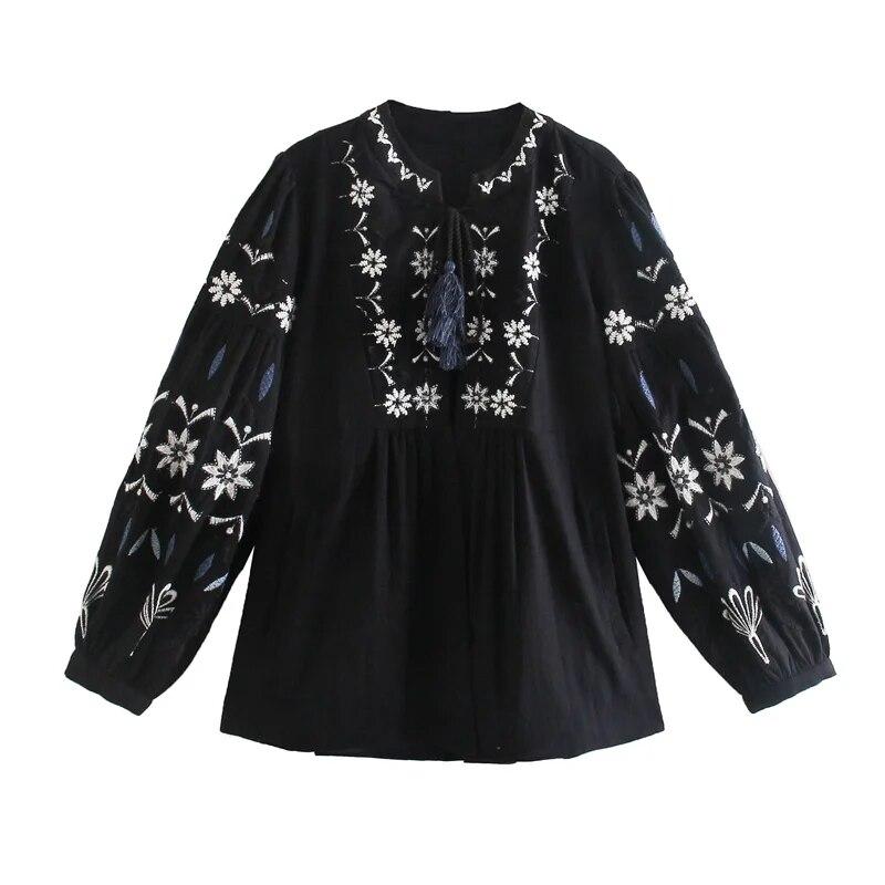 KRSB 2021 ربيع الخريف المرأة اليابانية قميص أسود العنق زهرة مطرزة القطن الكتان بلوزة لوليتا نمط الرجعية أنيقة