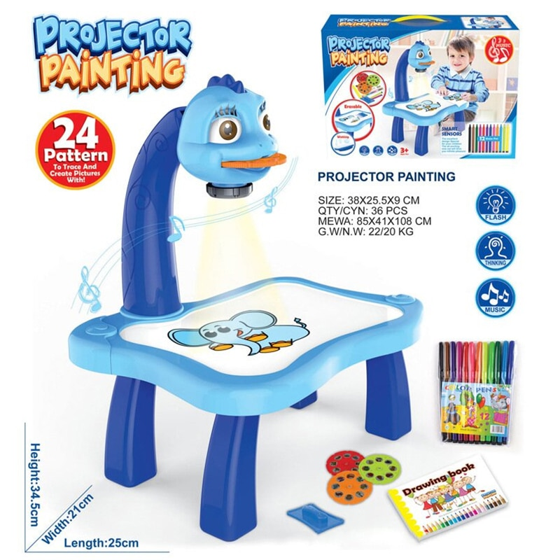 Kids Children Educational Early Learning Musical Projector Projection Painting Drawing Table Desk Toy Paint Tools TP-Hot