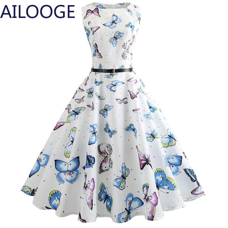 Impresión Floral vestido Vintage vestido de las mujeres vestido de oficina vestido Vestidos Pin Up de verano elegante fiesta Rockbility bata de talla grande