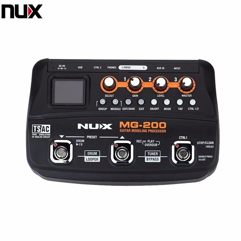 NUX MG-200, procesador de modelado de guitarra con múltiples efectos, procesador con 55 modelos de efecto, enchufe europeo