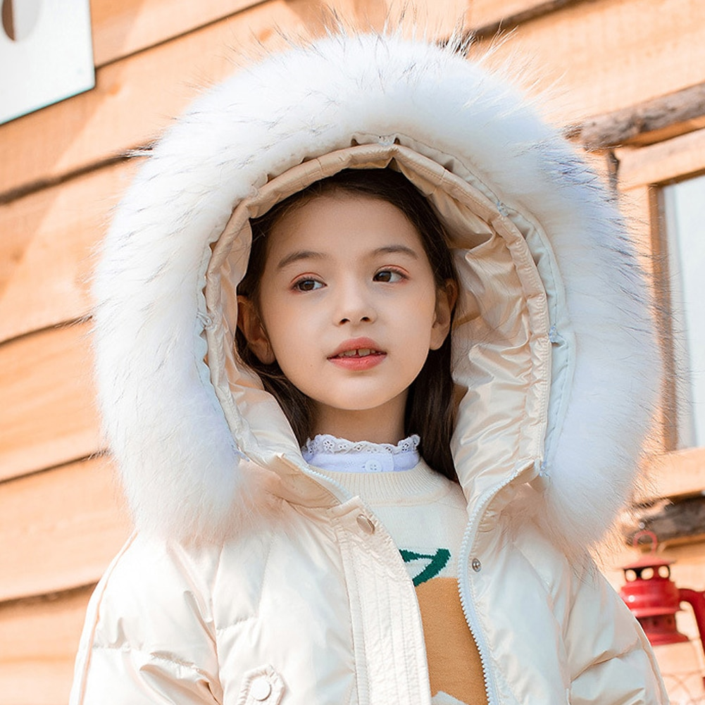 White Duck Down Outerwear for Girls Long Padded Puffer Jackets Solid Windproof Overcoat Teen Hooded Coats Winter Thicken Clothes enlarge