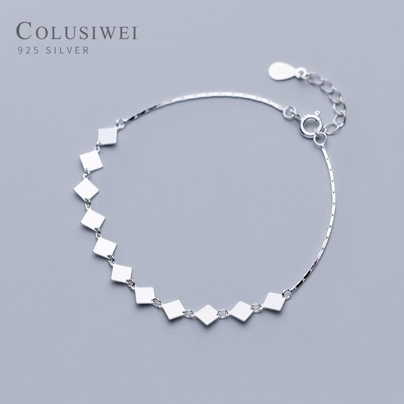 Columsiwei genuine 925 prata esterlina geométrica praça lantejoulas corrente pulseira feminina moda prata 925 jóias acessórios