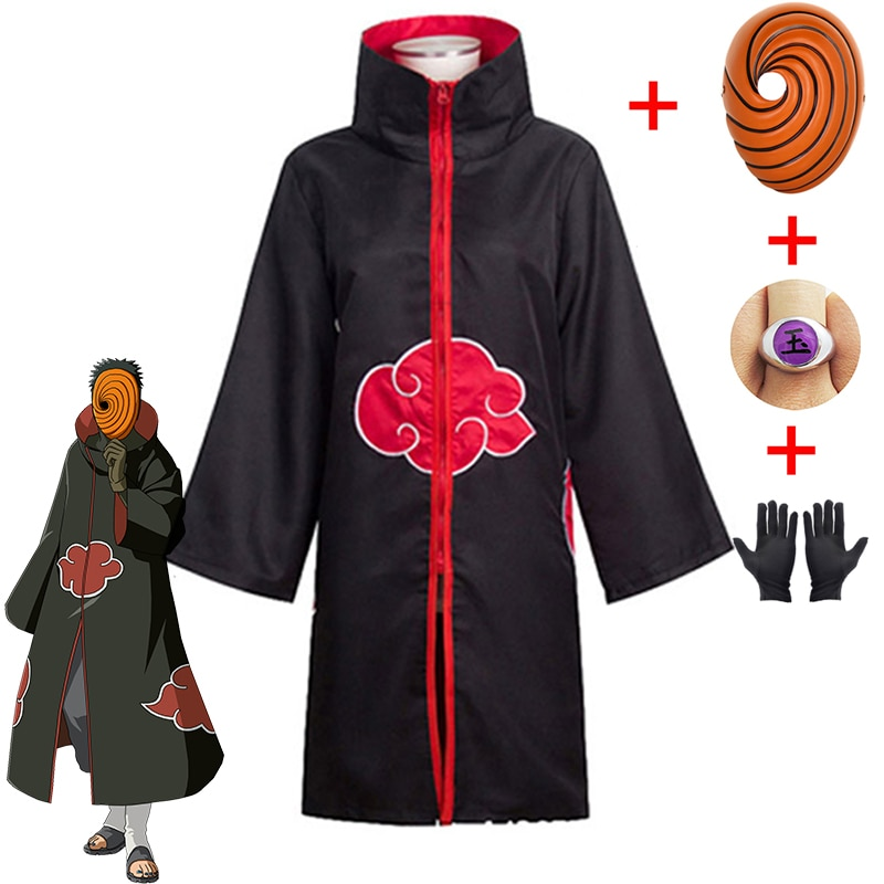 Naruto Tobi Obito Cosplay Costume Akatsuki Long Sleeve Cloak Halloween Carnival Funny Adult Cosplay Costume