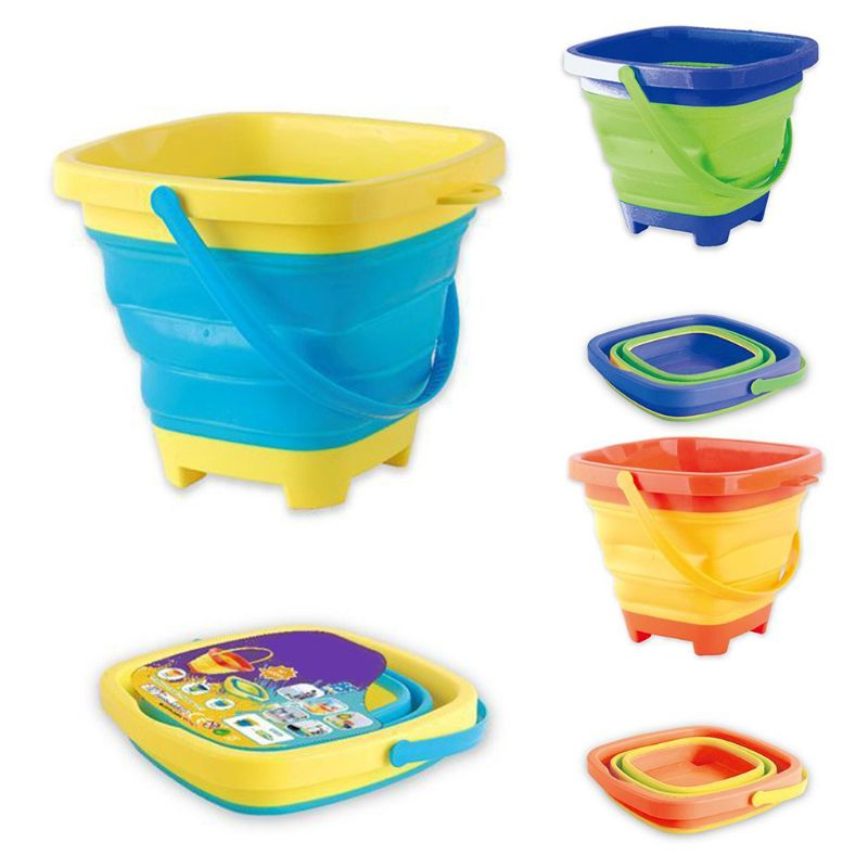 Portable Beach Bucket Sand Toy Foldable Collapsible Multi Purpose Plastic Pail