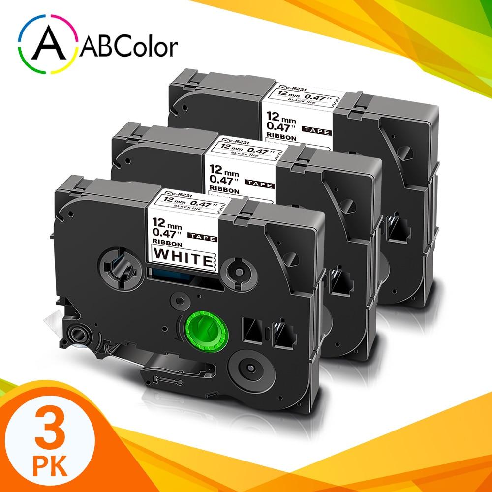 Fita de fita de cetim 3pk TZe-R231 tze r231 12mm fita tze presente que envolve a fita da etiqueta para o irmão p toque PT-D200 PT-D400 impressora