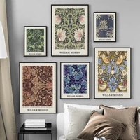william morris wallpaper fabric pattern wall art canvas painting nordic posters and prints wall pictures for living room decor