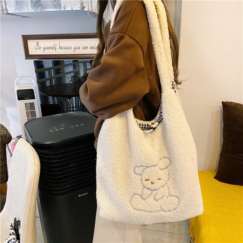 Women's Bag Soft New Shopper with Lamb Wool Cute Bear Like Fabric Shoulder Bag Canvas Handbag Tote Large Capacity Bag For Girls