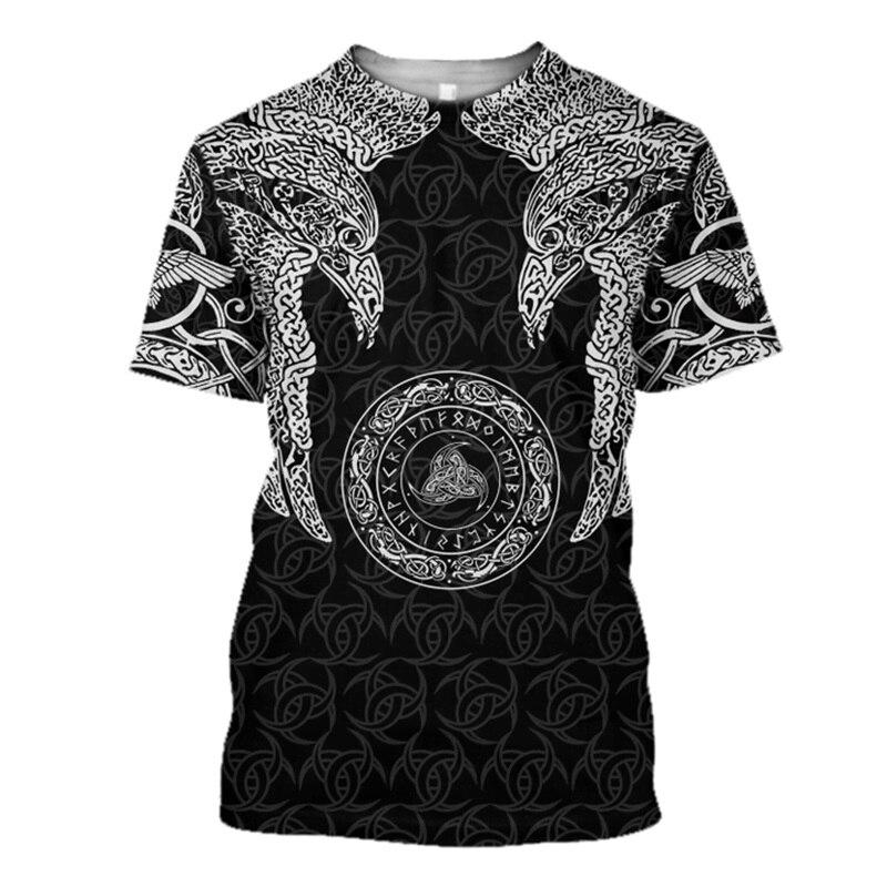 Viking munin crow-odin tatuagem 3d impresso t camisa harajuku moda manga curta camisa de verão streetwear unisex tshirt topos