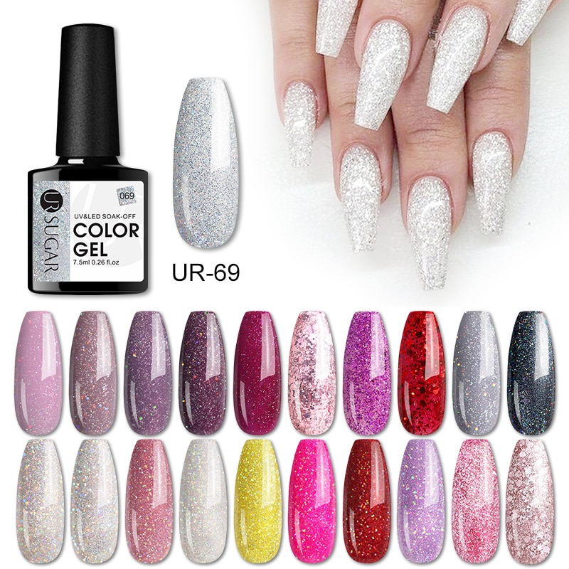 UR SUGAR 7.5ml Gel Nail Polish Glitter For Manicure Set Nail Art Semi-permanernt UV LED Lamp Nail Base Top Coat Gel Lacquer