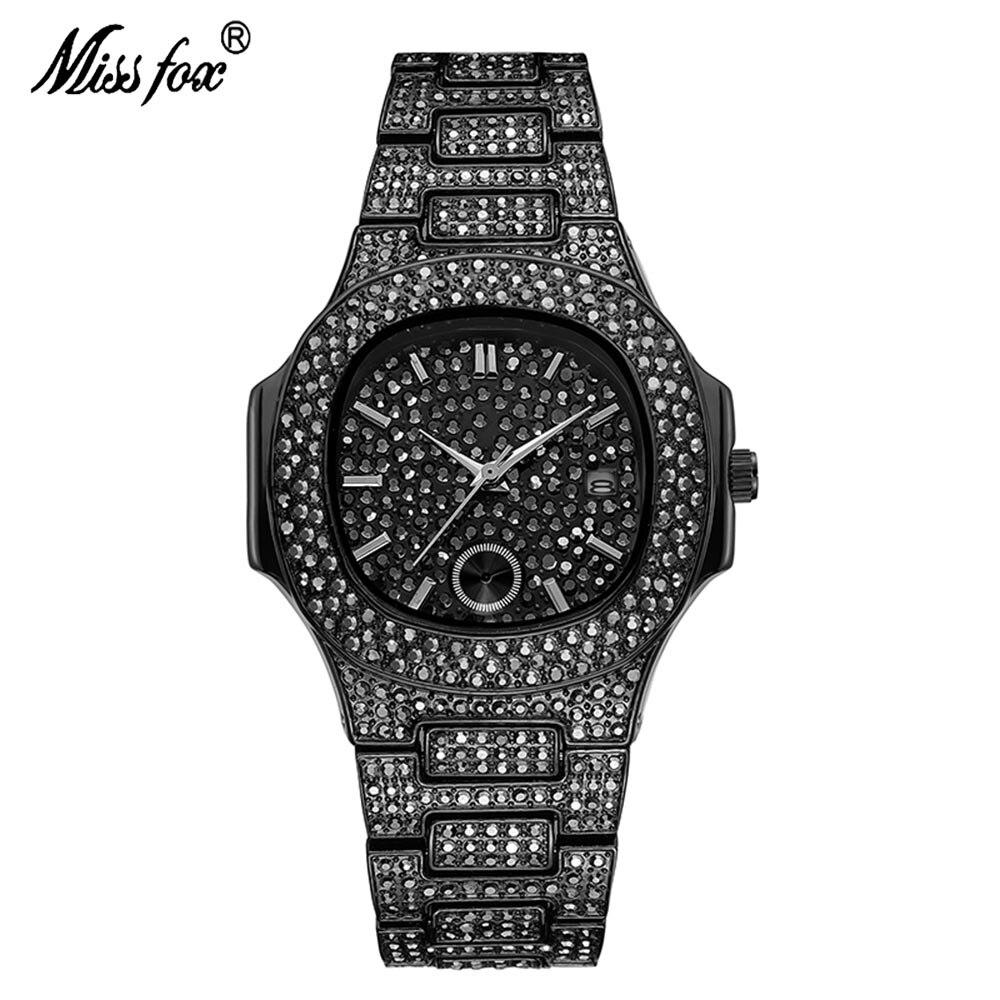 MISSFOX-ساعات رجالية ، كرونوغراف فاخر ، مقاومة للماء ، حزام من الفولاذ المقاوم للصدأ ، ساعة يد بقرص مربع من حجر الراين بالكامل V293R