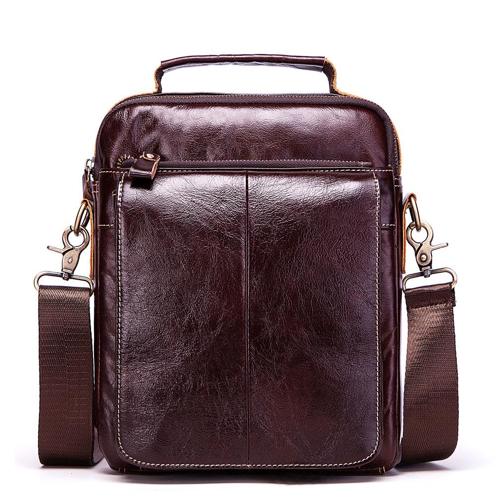 Mens Vintage Genuine Leather Handbags Casual Leather Laptop Bag Male Business Travel Messenger Bags Men's Crossbody Shoulder Bag