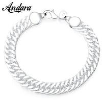 new 925 sterling silver bracelet cuban bracelet womens and mens jewelry bracelet gift