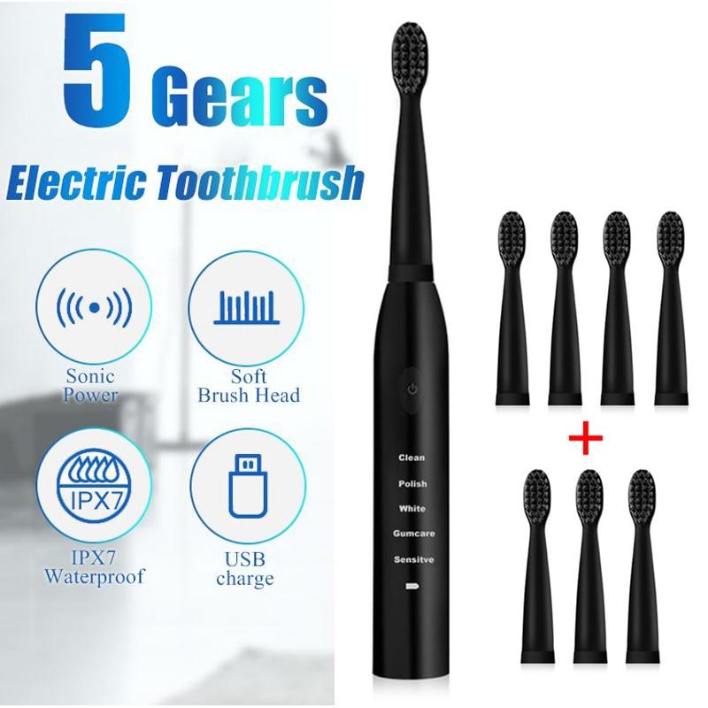 Cepillo de dientes eléctrico, cepillo de dientes eléctrico, ultrasónico, recargable por USB,...