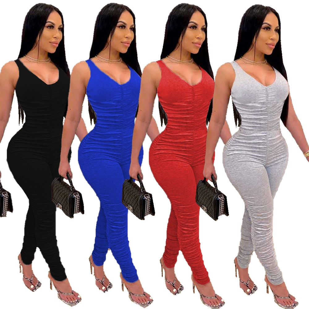 Solid Color V-Neck Spaghetti Strap Pleated Summer New Women Jumpsuit European and American Rompers Outfits 2020 new women s jumpsuit european and american rompers fashion casual solid color plain zip mask jumpsuit
