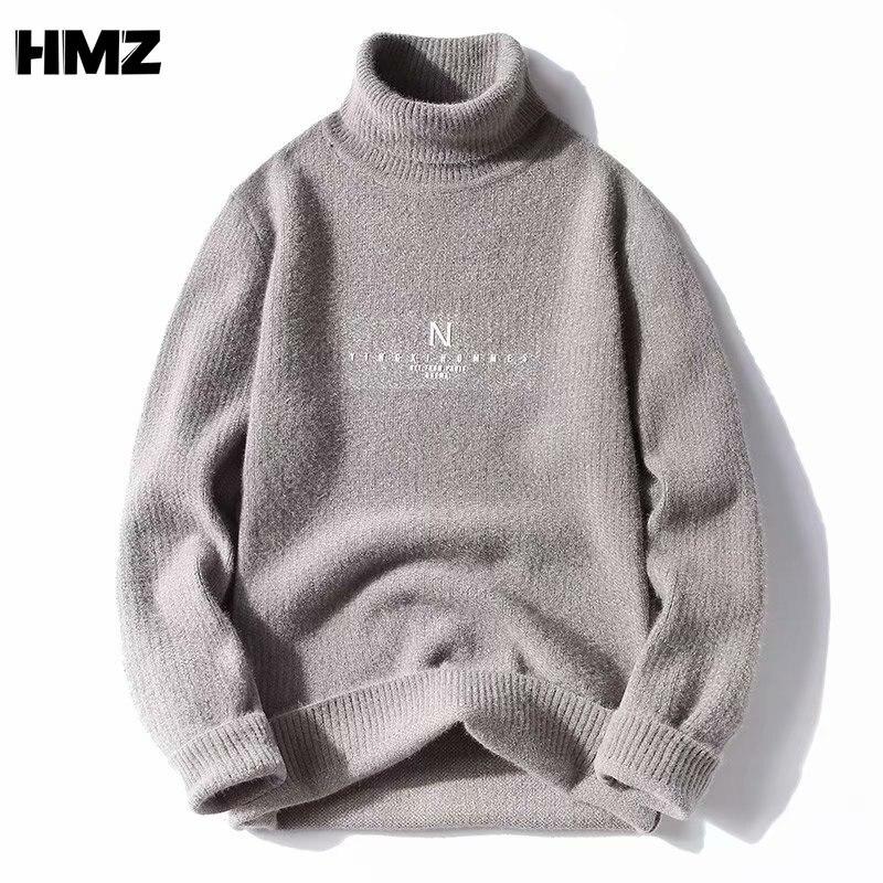 Мужской теплый свитер-водолазка HMZ, сезон осень-зима 2021, Модный пуловер высокого качества, повседневный удобный пуловер, плотный мужской сви...