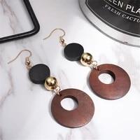 1pair simple fashion women geometric wooden drop dangle earrings female hollow wooden long dangle earrings wedding party gift