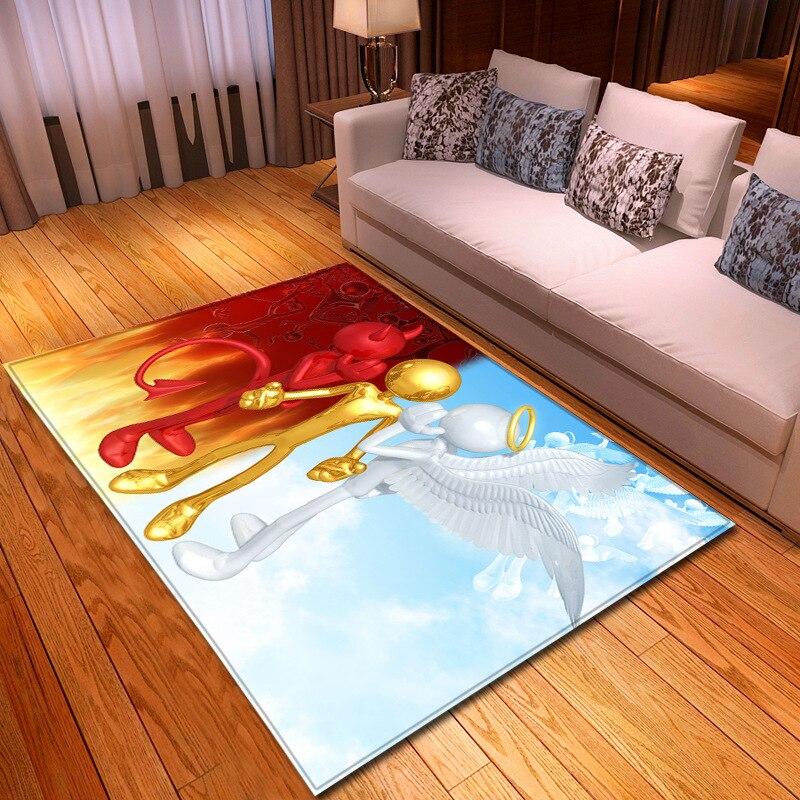 Abstracto Ángel diablo alfombra moderna sala de suelo de moda estera casa dormitorio 3D impresión niños alfombra gateo infantil antideslizante alfombra