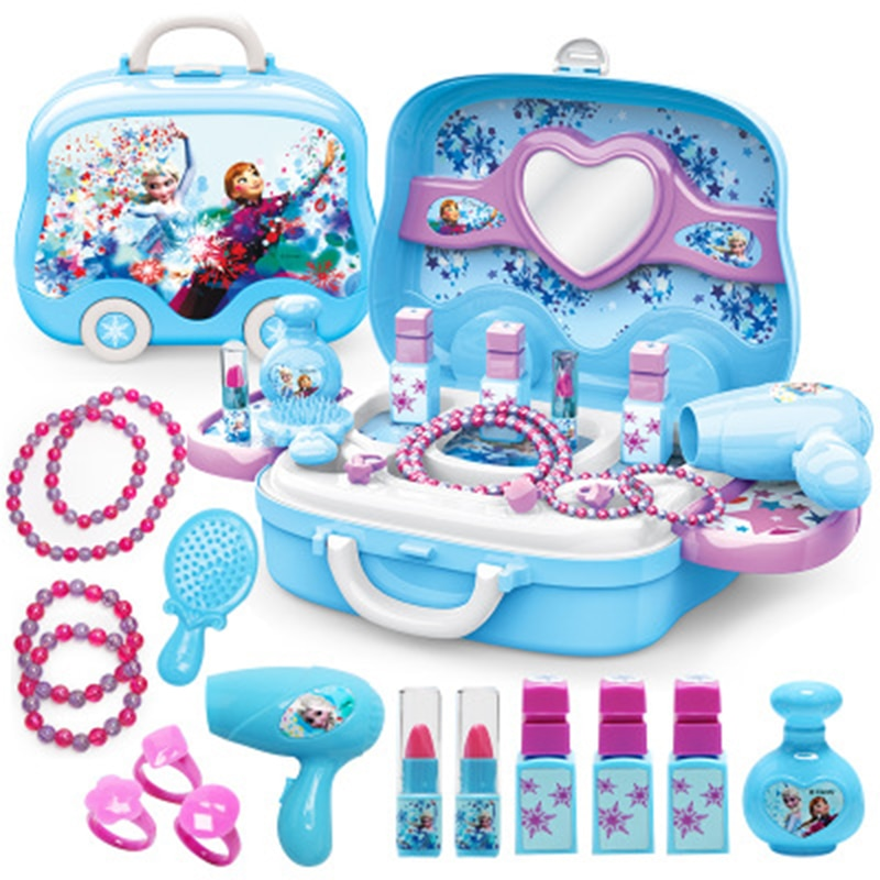 Disney girls princess frozen Dressing makeup toy set kids Beauty toys Children's simulation dressing table Fashion Toys