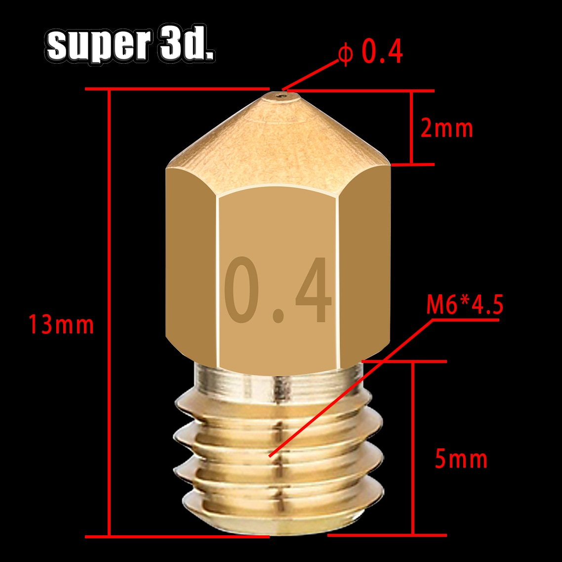 500 قطعة/الوحدة MK8 النحاس فوهة 0.4 مللي متر الطارد رأس الطباعة فوهة ل 1.75 مللي متر CR10 CR10S Ender-3 Anet A8 3D طابعة أجزاء
