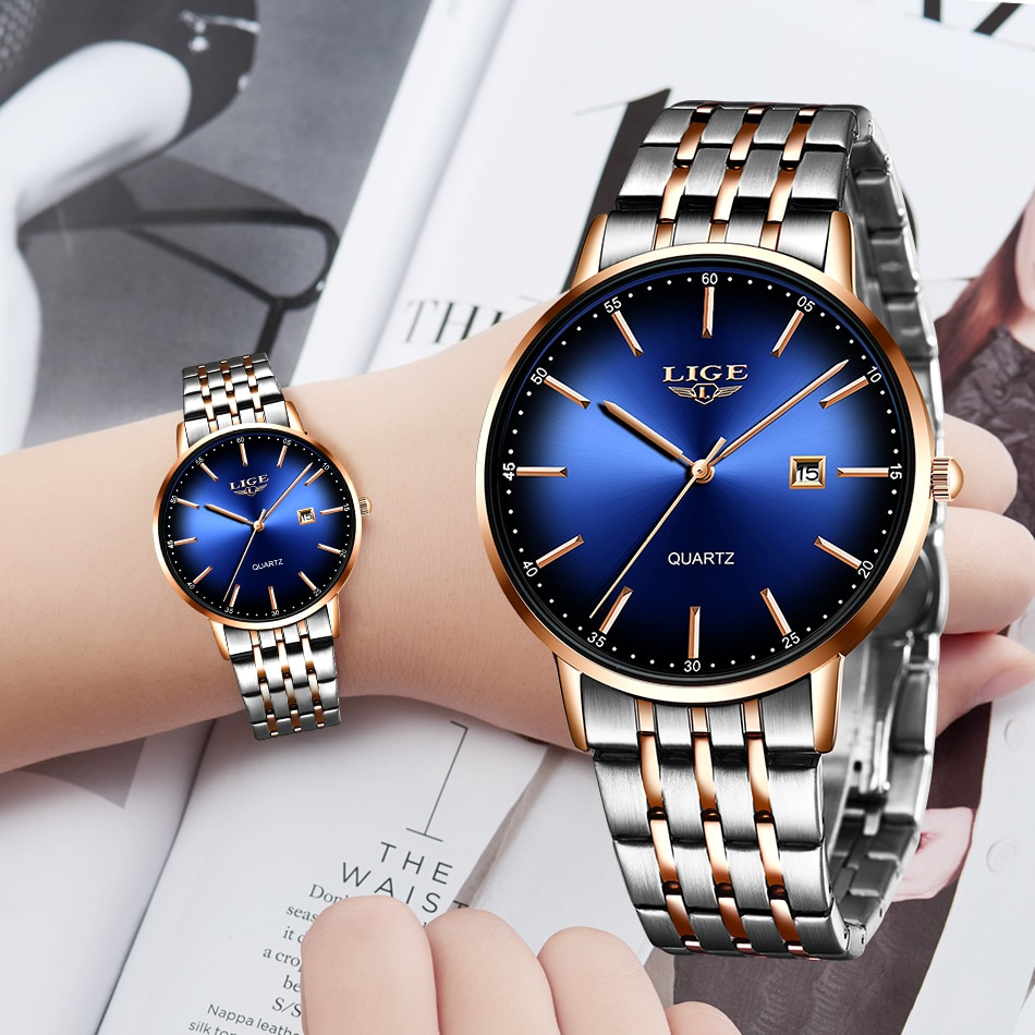 LIGE New Women Luxury Brand Watch Simple Quartz Lady Waterproof Wristwatch Female Fashion Casual Watches Clock reloj mujer 2020 enlarge