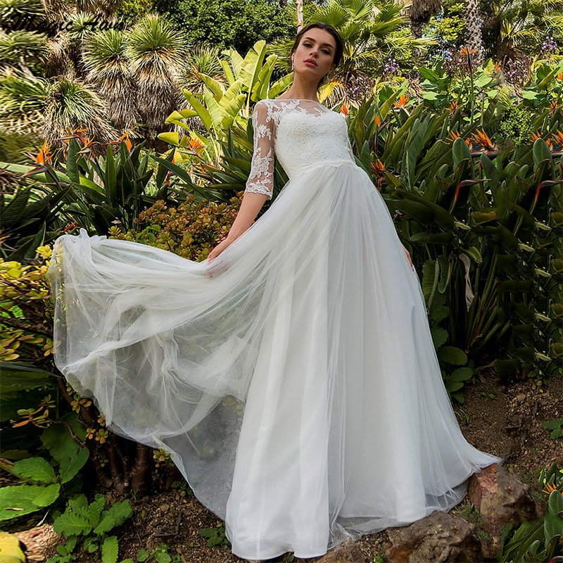 Magic Awn New Bohemian Lace Tulle Wedding Dresses Half Sleeve Appliques Illusion Princess Beach A-Line Bridal Gowns Robe Mariage