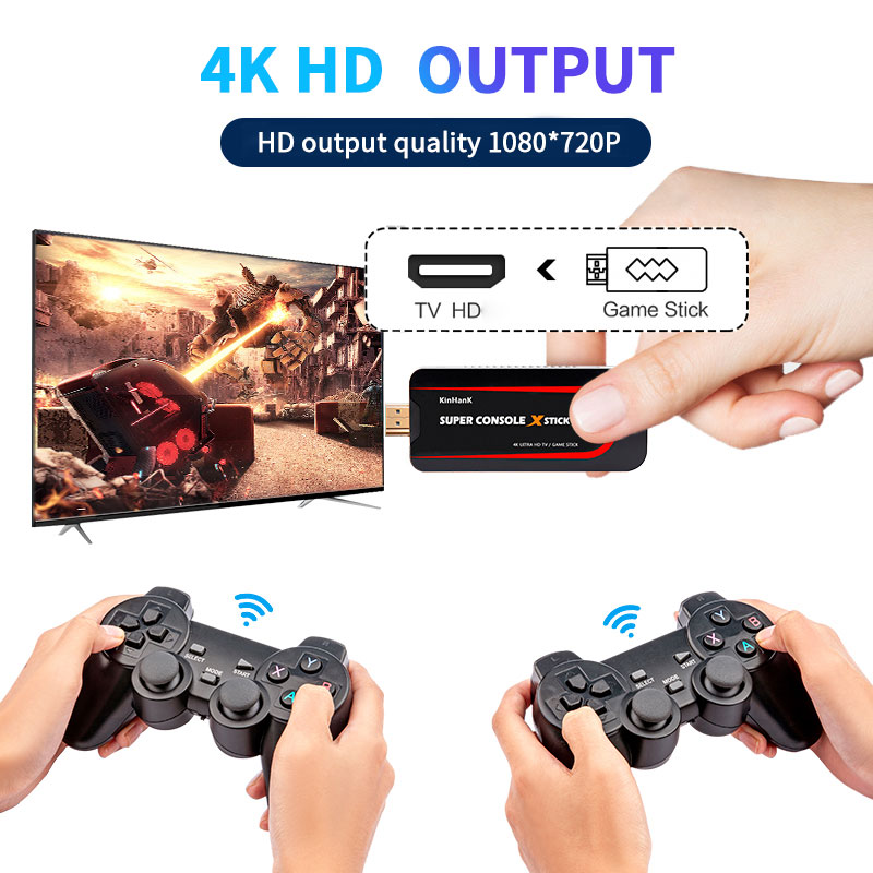 سوبر وحدة التحكم X عصا صغيرة لعبة فيديو وحدة التحكم محاكي 4K 64 بت ريترو وحدة التحكم المدمج في 50000 ألعاب مزدوج تحكم لاعب