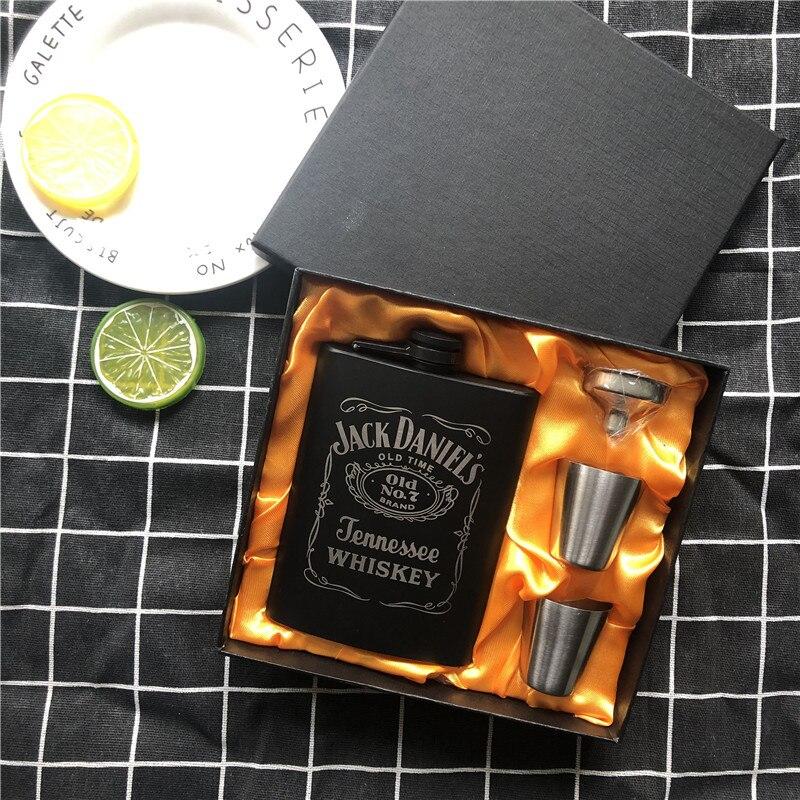 Новый мини 8 унций черная краска виски Flagon Laser 304 нержавеющая сталь спиртовая Воронка Джек фляга черная Подарочная коробка набор LPPUNK
