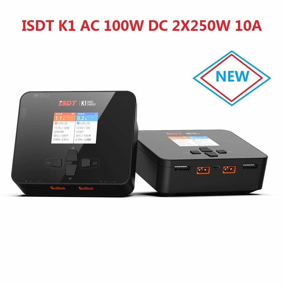 ISDT K1 التيار المتناوب 100 واط تيار مستمر 250Wx2 ثنائي القناة التوازن يبو شاحن مفرغ لبطارية ليبو