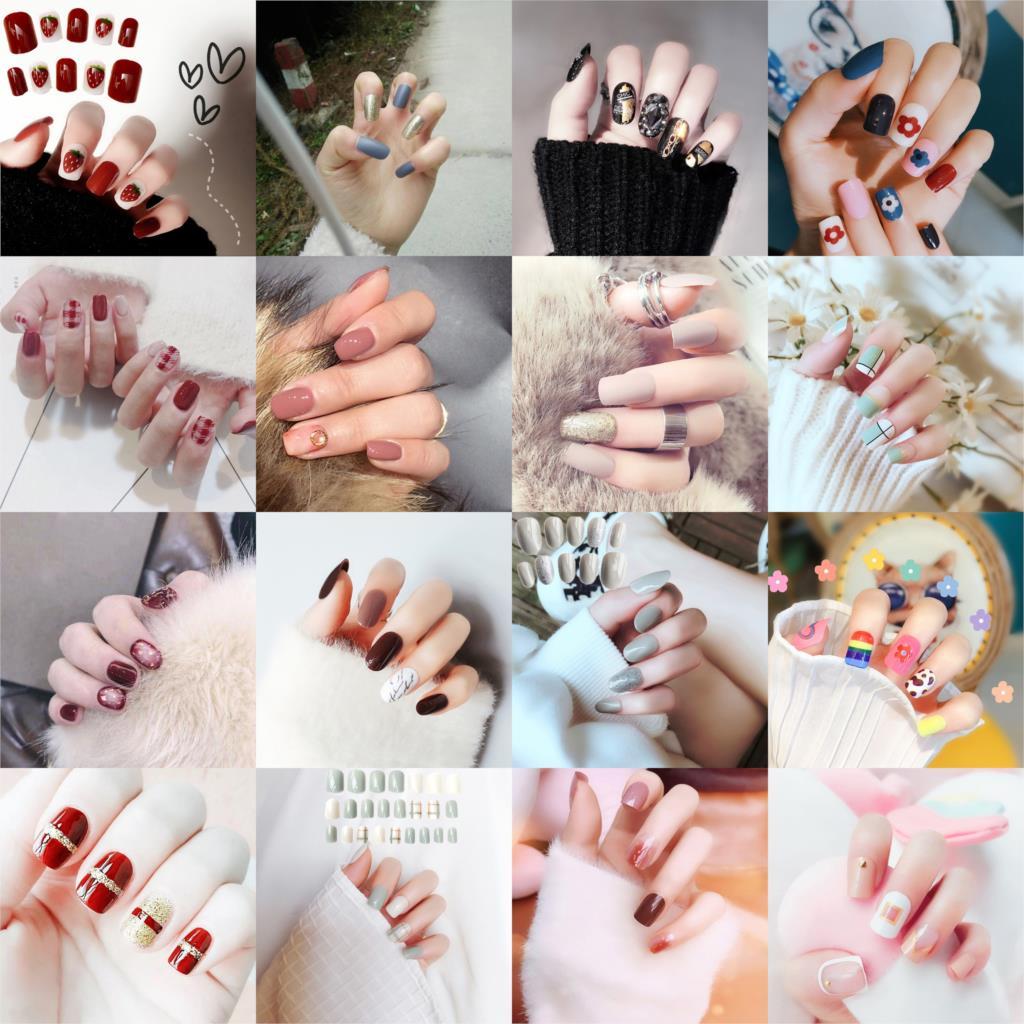 24Pcs/set Press On Fake Nails Fingernails With Cute Carton Short Kawaii False Nail Tips Artificial Faux Ongles With Glue Sticker