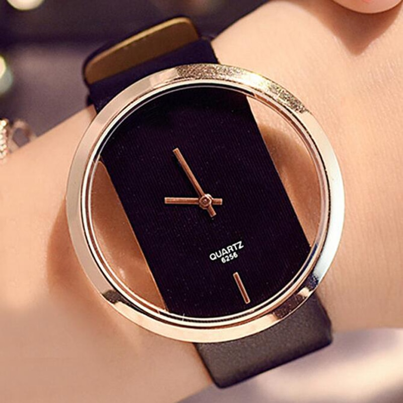 Classic Women Watches Fashion Hollow Transparent Watches Leather Strap Quartz Wristwatches Cheap Pri