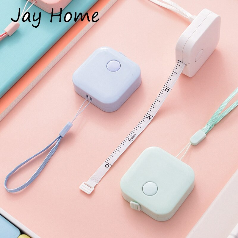 Купить с кэшбэком 150cm Soft Measure Tape Push Button Child Height Measuring Ruler Roll Tape Mini Portable Retractable Tape Home Sewing Supplies