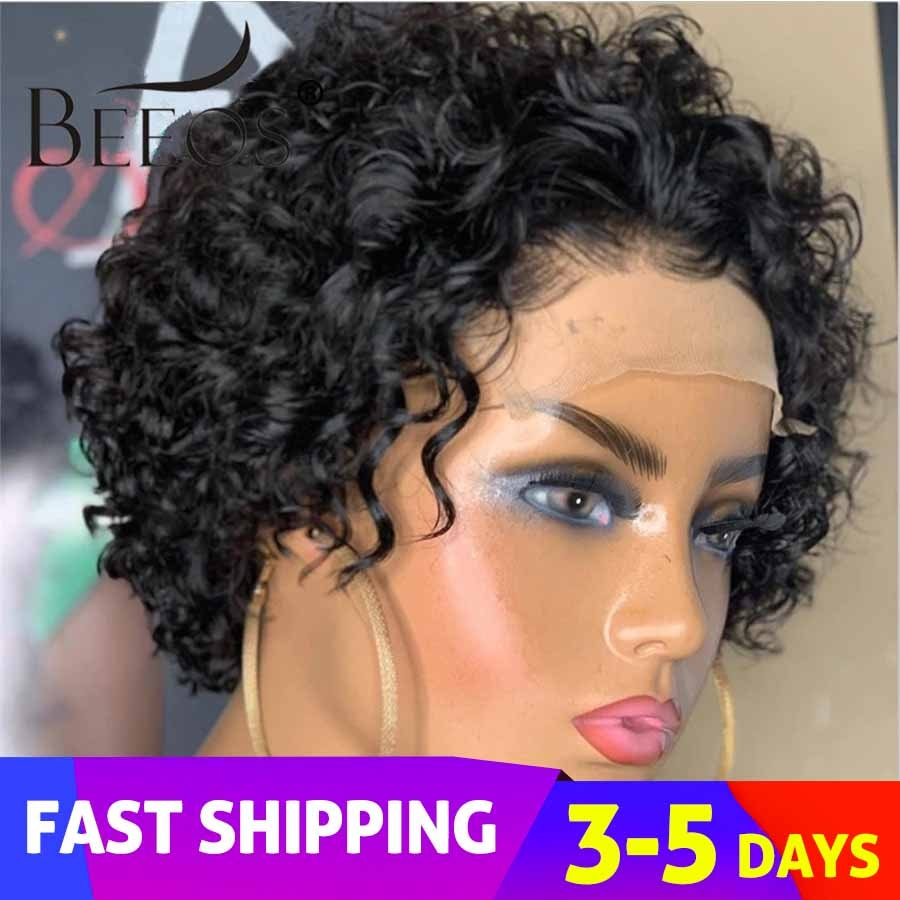 """Beeos 250% Pixie Cut Short Curly Wig 4*4 Closure Lace Human Hair Wigs Brazilian Remy 8""""Inch Human Hair PrePlucked With Baby Hair"""