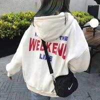 hoodies women hooded plus velvet letter printed loose pockets womens hoodie korean style harajuku all match chic trendy leisure