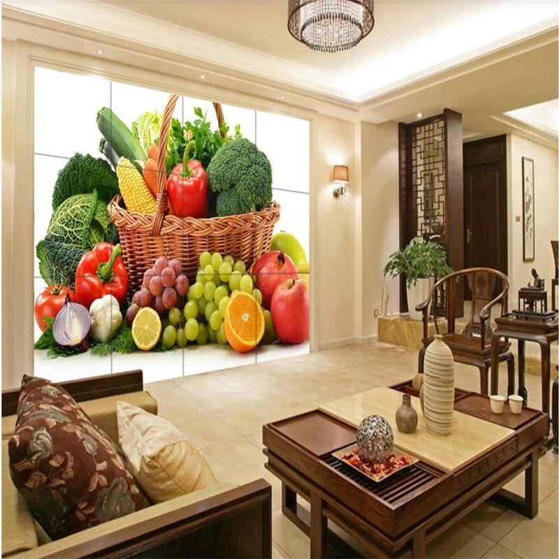Papel de pared 3D personalizado para decoración Industrial de tiendas, verduras y frutas verdes frescas, papel tapiz para Mural de publicidad de supermercado