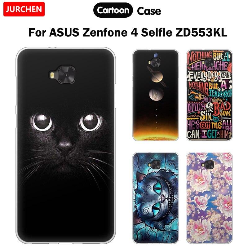 Funda de teléfono JURCHEN para Asus Zenfone 4 Selfie ZD553KL funda de silicona blanda de TPU Coque para ZD553KL Shell patrón de dibujos animados 5,50 pulgadas
