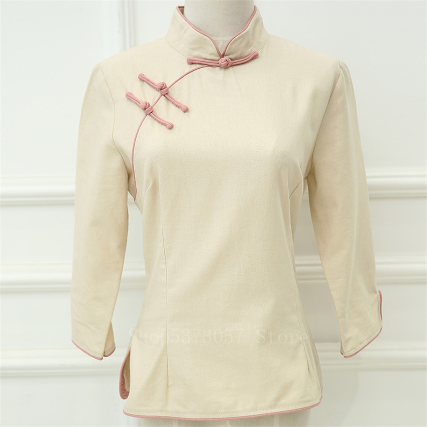 Chinese Traditional Style Cheongsam Shirt Retro Solid Woman Linen Tang Suit Casual Mandarin Collar Blouse Elegant Qipao