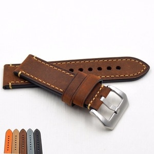 Newest 20 22mm 24mm 26mm Genuine Leather Watchband Belt Manual Men Thick Brown Black classic Watch Band Strap Buckle Accessories