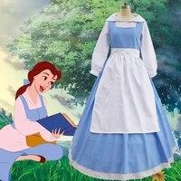 beauty and the beast cosplay belle maid dress maid costume women blue full set dress shirt dress apron headwear