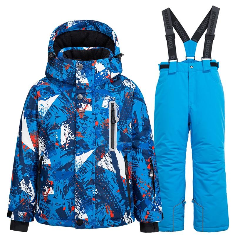 بدلة تزلج للأطفال, بدلة تزلج للأطفال سترات + بنطال للتزلج للأولاد والبنات شتوية مقاومة للرياح مقاومة للماء دافئة مناسبة لرياضات الثلج
