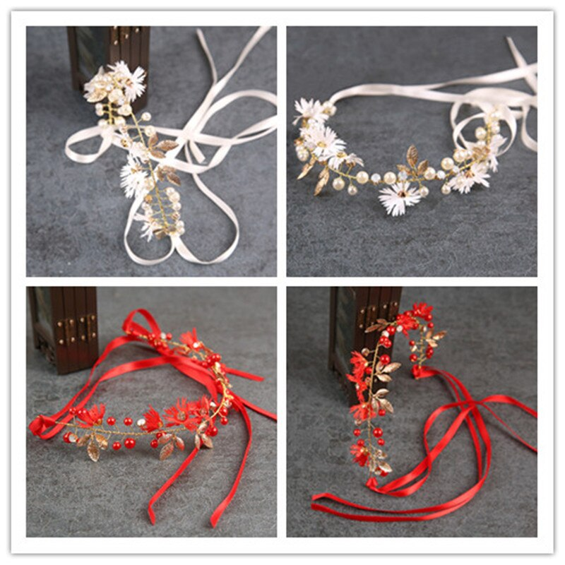 Vermelho branco pérola decoração de casamento véu vestidos coroa ornamentos festa de casamento cabeça de noiva decoração estilo chinês coreano