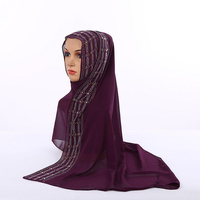Women High Quality Plain Turban Shawl With Colorful Rhinestone Long Scarf Muslim Turkish Hijab Pearl Chiffon Head