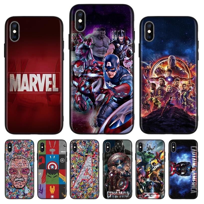Marvel Avengers funda trasera negra para teléfono Apple IPhone 11 Pro XS MAX XR 7 8 6 6S X 10 diez 5 5S SE Coque Shell