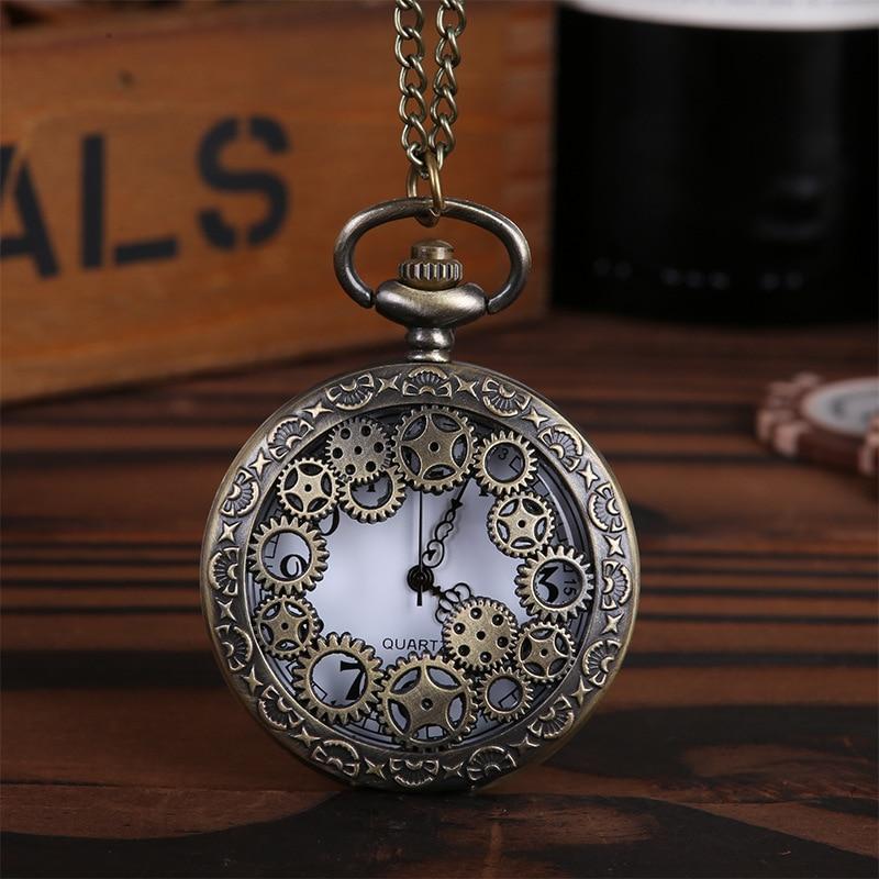 1 Uds. Collar con colgante de cuarzo y reloj de bolsillo de diseño Retro y bronce Steampunk para hombre y mujer, accesorios de estilo Punk