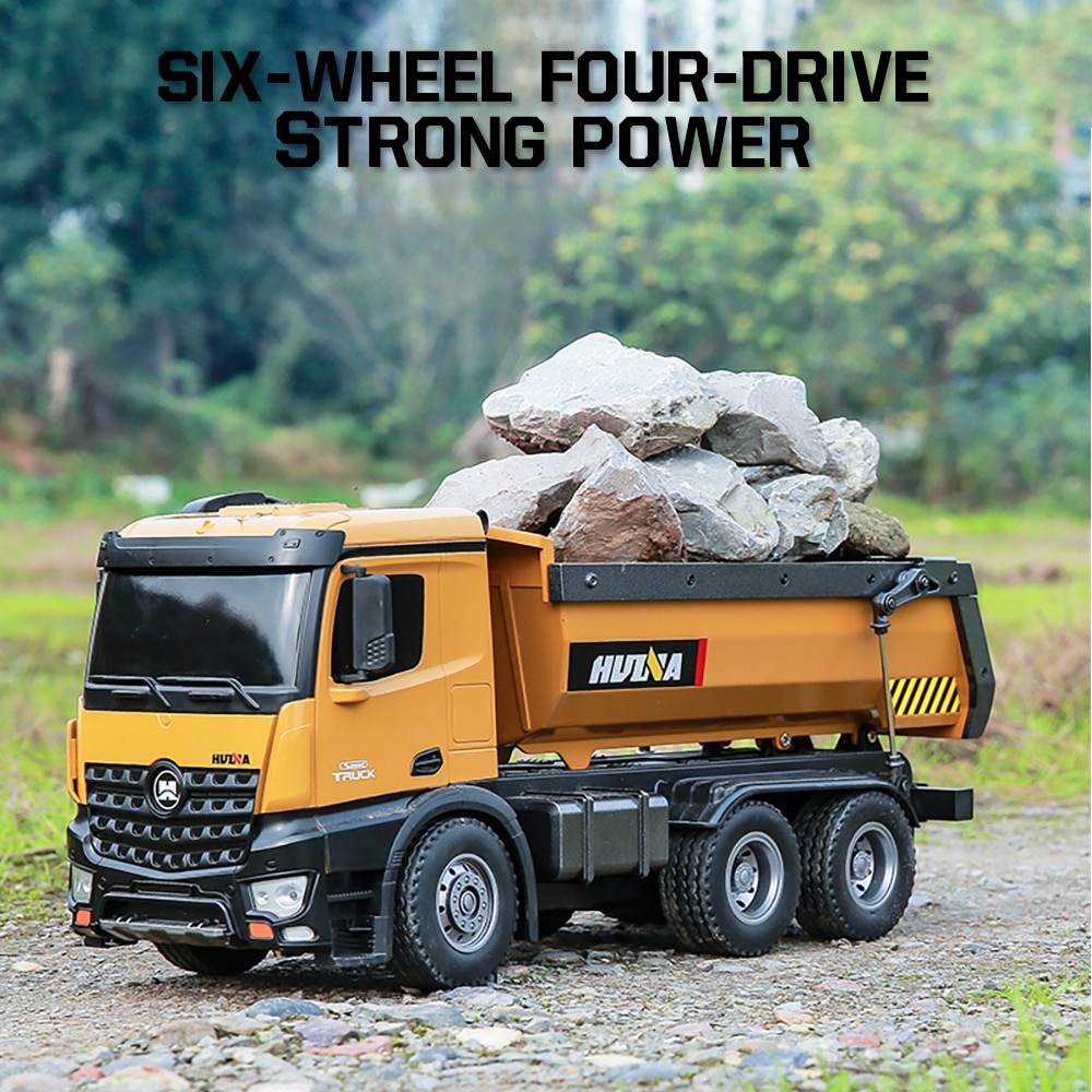 1:14 Huina Rc Truck Tractor Caterpillar Alloy Engineering Car 2.4Ghz Renmote Controll Car 10 Channel Rc Dumper Toys for Boys enlarge