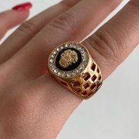 punk style mens lion head crystal decoration enamel ring gold silver 2colors alloy hollow rings vintage party womens jewelry